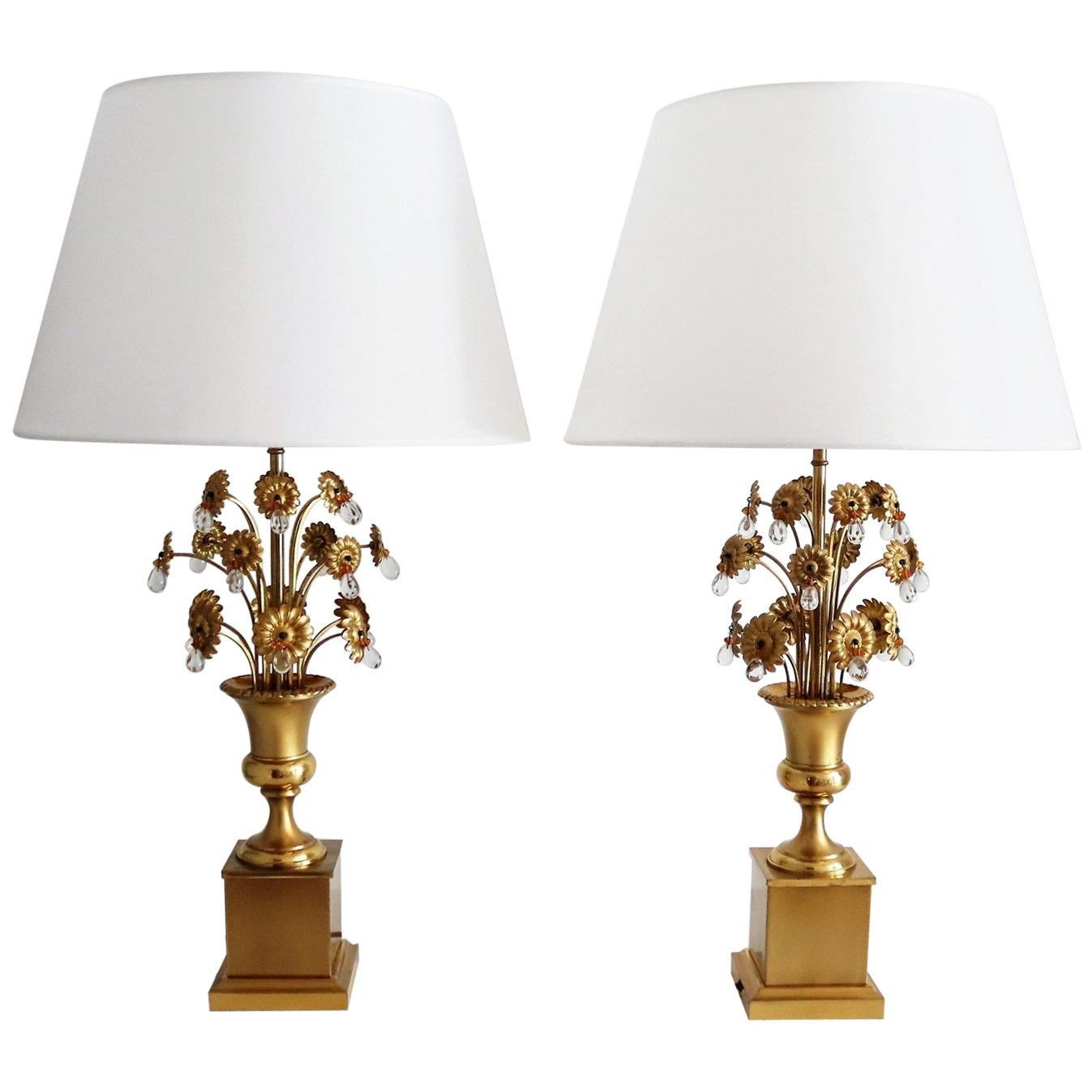 French Hollywood Regency Table Lamps with Metal Flowers and Crystal Glass, 1970s