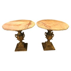 French Hollywood Regency Urn Base Twin Handled Giltwood End or Side Tables, Pair