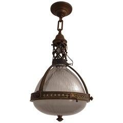 French Holophane Brass Pendant Light, circa 1920