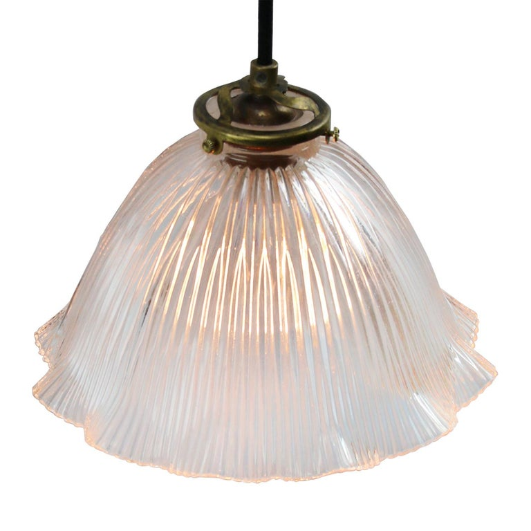 Industrial French Holophane Glass Vintage Pendant Lights For Sale