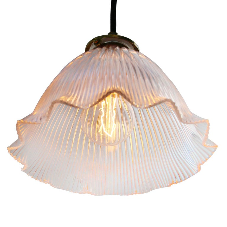 French Holophane Glass Vintage Pendant Lights In Good Condition For Sale In Amsterdam, NL