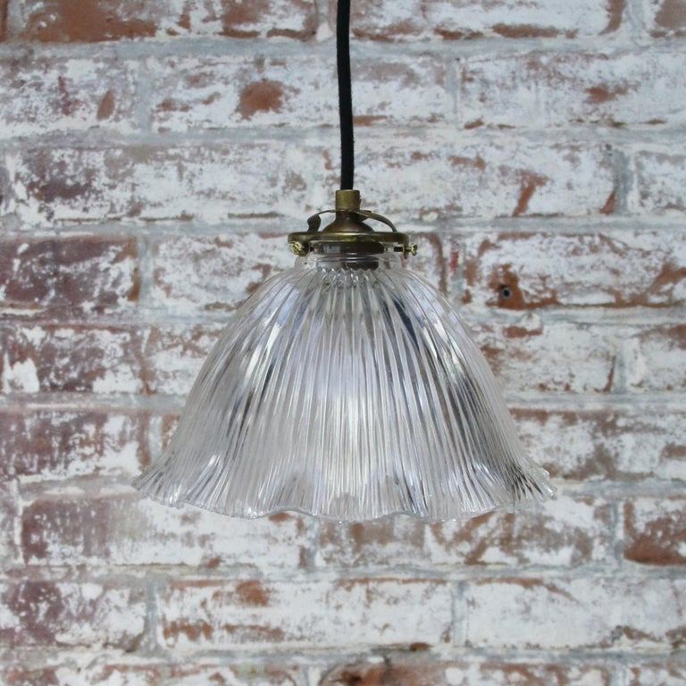 20th Century French Holophane Glass Vintage Pendant Lights For Sale