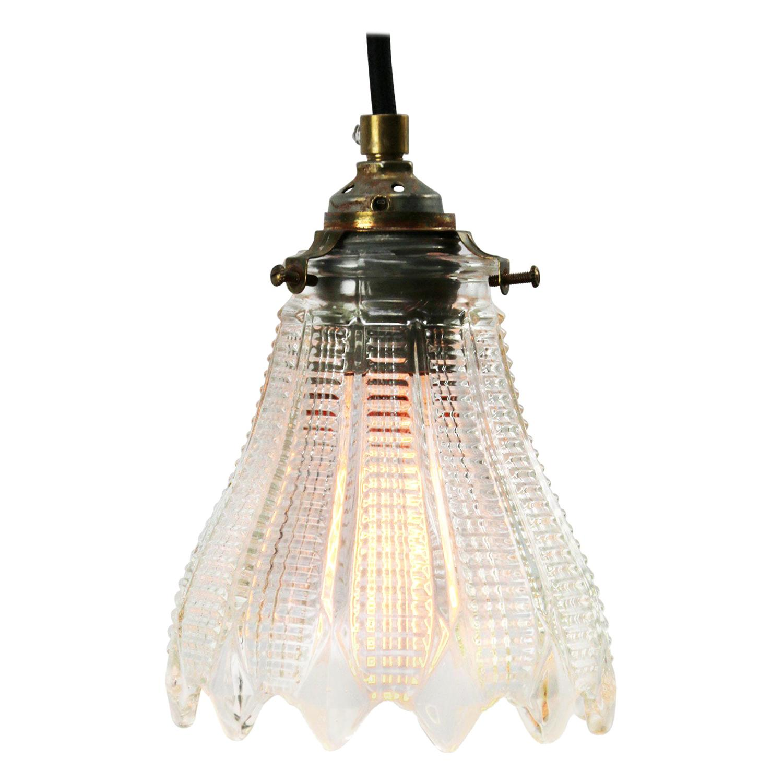 French Holophane Glass Vintage Pendant Light