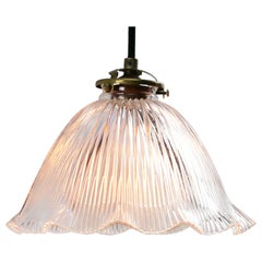 French Holophane Glass Vintage Pendant Lights