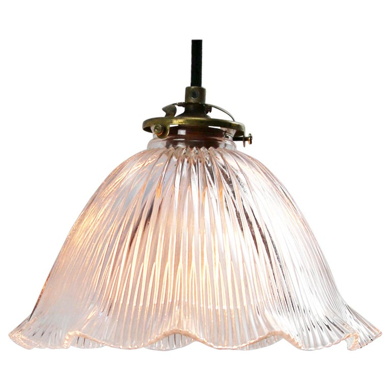 French Holophane Glass Vintage Pendant Lights For Sale