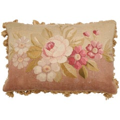 French Horizontal 19th Century Aubusson Tapestry Floral Pillow with Tassels