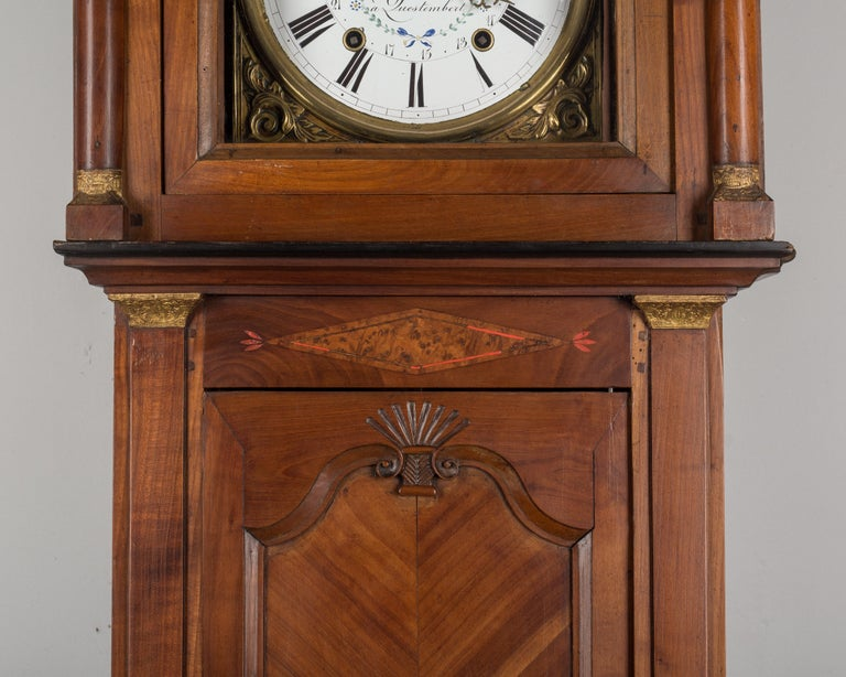 19th Century French Horloge de Parquet or Tall Case Clock For Sale