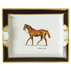 French Horse Equine Porcelain Tray Vide-Poche or Ashtray