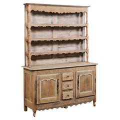French Hutch Buffet Cabinet Adorn in Whimsical Carvings & Scallops, Early 19th C