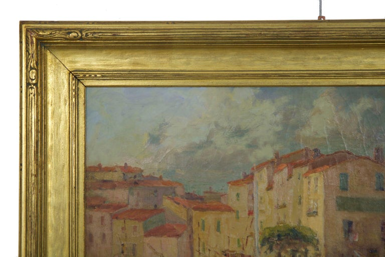 French Impressionism Antique Oil Painting of Fishing Harbor by Paul Balmigere For Sale 3