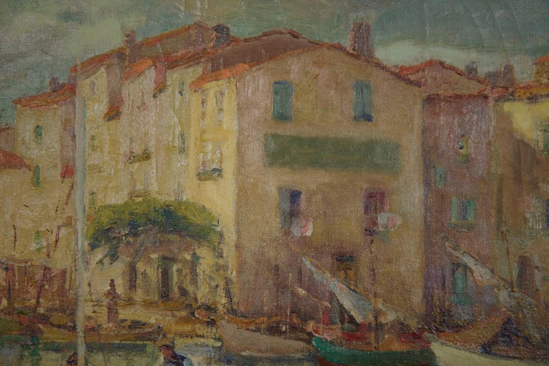 French Impressionism Antique Oil Painting of Fishing Harbor by Paul Balmigere For Sale 4