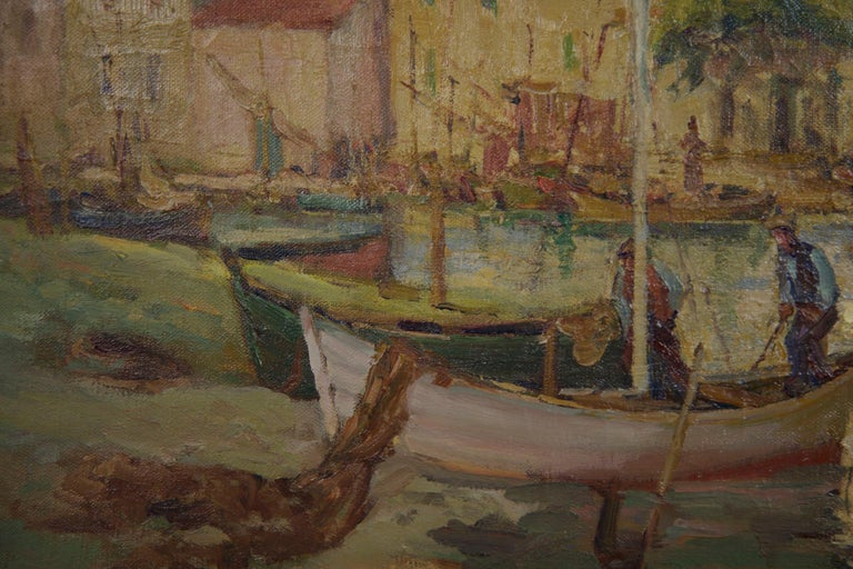 French Impressionism Antique Oil Painting of Fishing Harbor by Paul Balmigere For Sale 5
