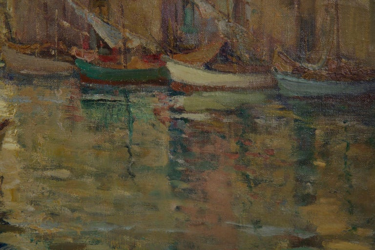 French Impressionism Antique Oil Painting of Fishing Harbor by Paul Balmigere For Sale 6