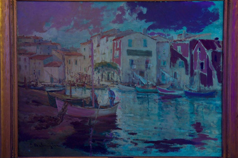 French Impressionism Antique Oil Painting of Fishing Harbor by Paul Balmigere For Sale 13