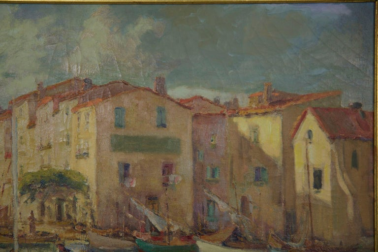 Other French Impressionism Antique Oil Painting of Fishing Harbor by Paul Balmigere For Sale
