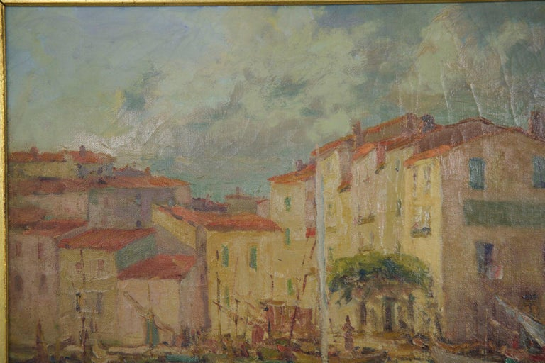 Hand-Painted French Impressionism Antique Oil Painting of Fishing Harbor by Paul Balmigere For Sale