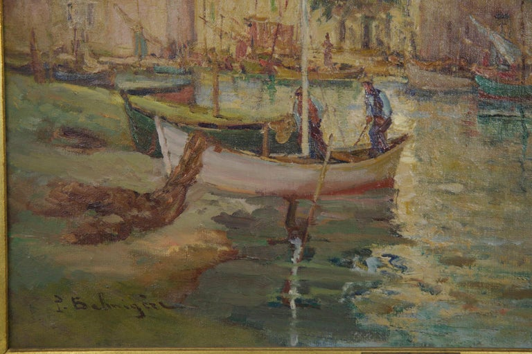 French Impressionism Antique Oil Painting of Fishing Harbor by Paul Balmigere In Good Condition For Sale In Shippensburg, PA