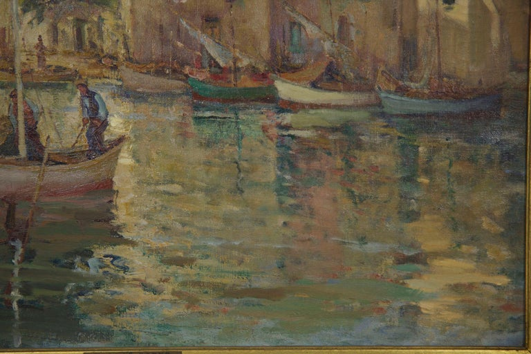 20th Century French Impressionism Antique Oil Painting of Fishing Harbor by Paul Balmigere For Sale
