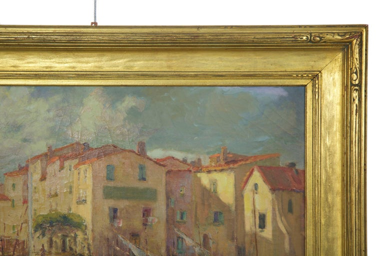 Canvas French Impressionism Antique Oil Painting of Fishing Harbor by Paul Balmigere For Sale