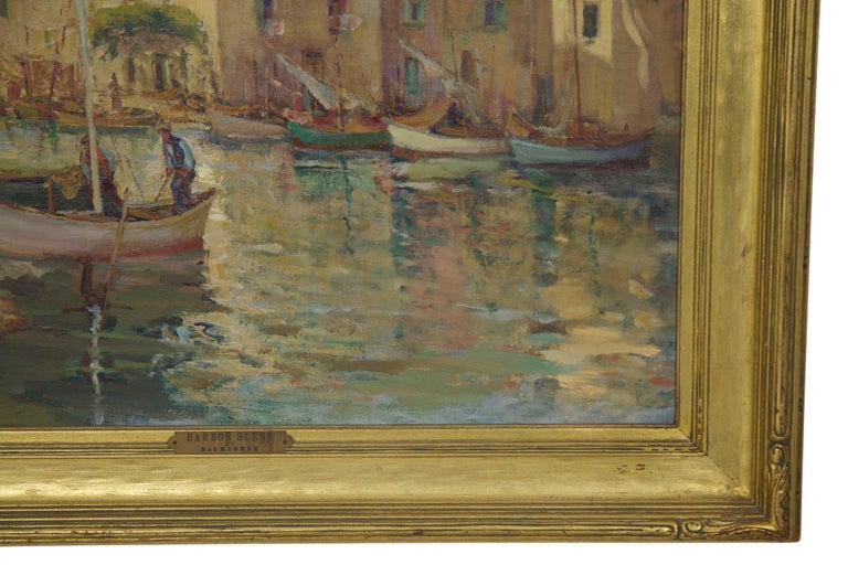 French Impressionism Antique Oil Painting of Fishing Harbor by Paul Balmigere For Sale 1