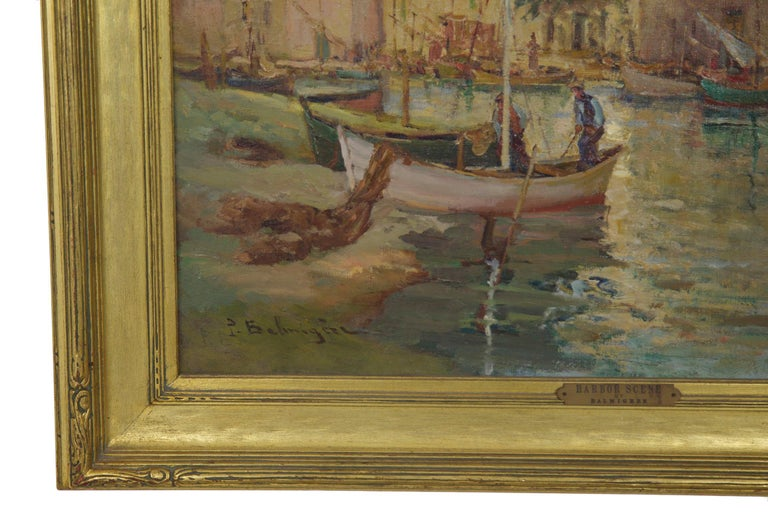 French Impressionism Antique Oil Painting of Fishing Harbor by Paul Balmigere For Sale 2