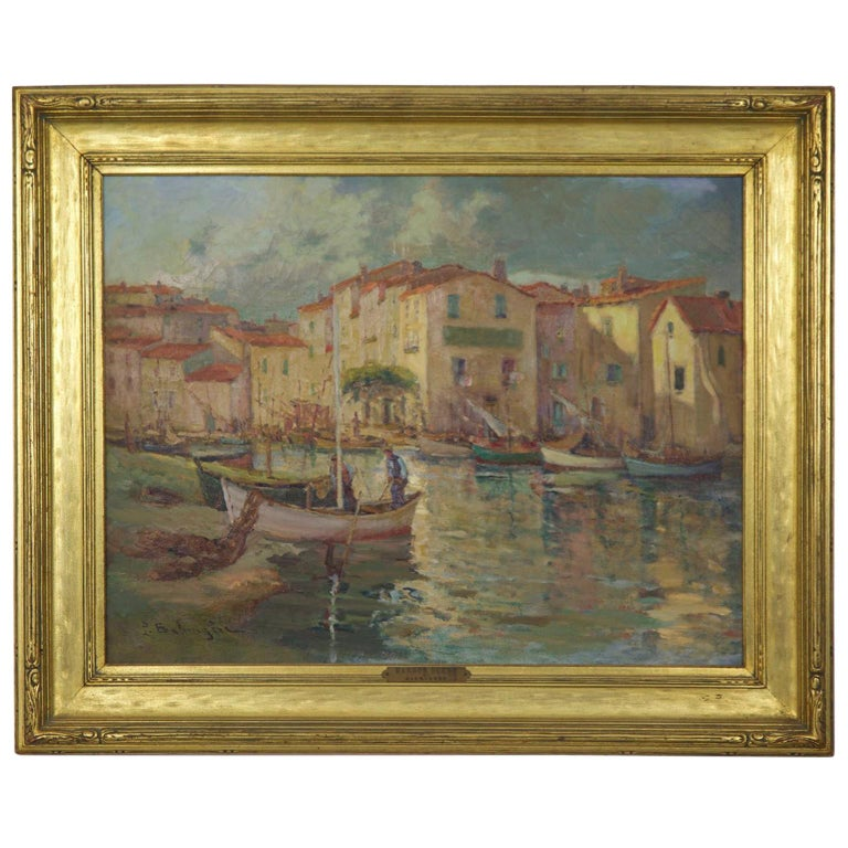 French Impressionism Antique Oil Painting of Fishing Harbor by Paul Balmigere For Sale