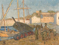 MID 20TH CENTURY FRENCH POST-IMPRESSIONIST OIL - SLEEPY SOUTH OF FRANCE HARBOUR