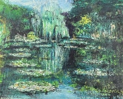 VINTAGE FRENCH IMPRESSIONIST SIGNED OIL - THE WATER LILY POND - WILLOW TREES