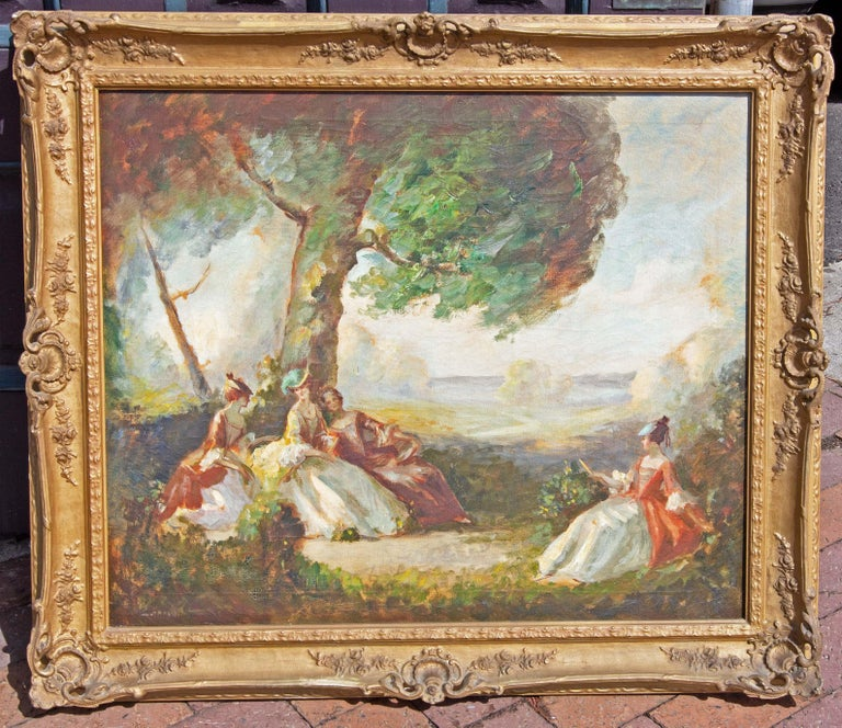 French impressionist style painting. Oil on canvas. Signed illegibly. In the original frame.