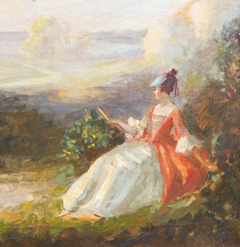 French Impressionist Garden Scene Painting In Good Condition For Sale In Rochester, NY
