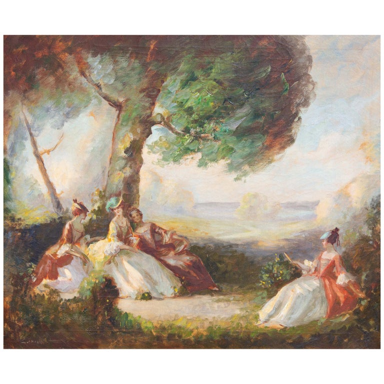 French Impressionist Garden Scene Painting For Sale