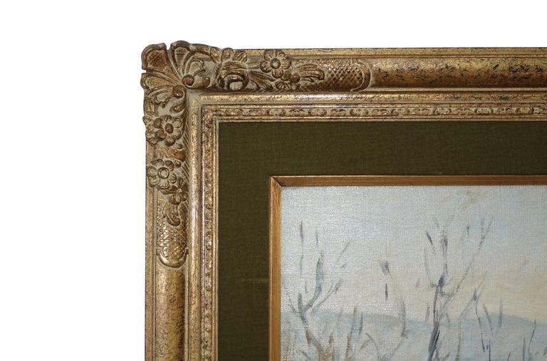 Carved French Impressionist Landscape Painting, Signed Bret Andre, 1952 For Sale