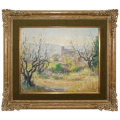 French Impressionist Landscape Painting, Signed Bret Andre, 1952