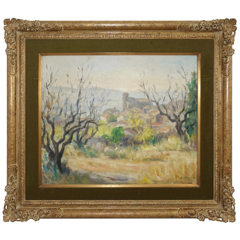 French Impressionist Landscape Painting, Signed Bret Andre, 1952 For Sale
