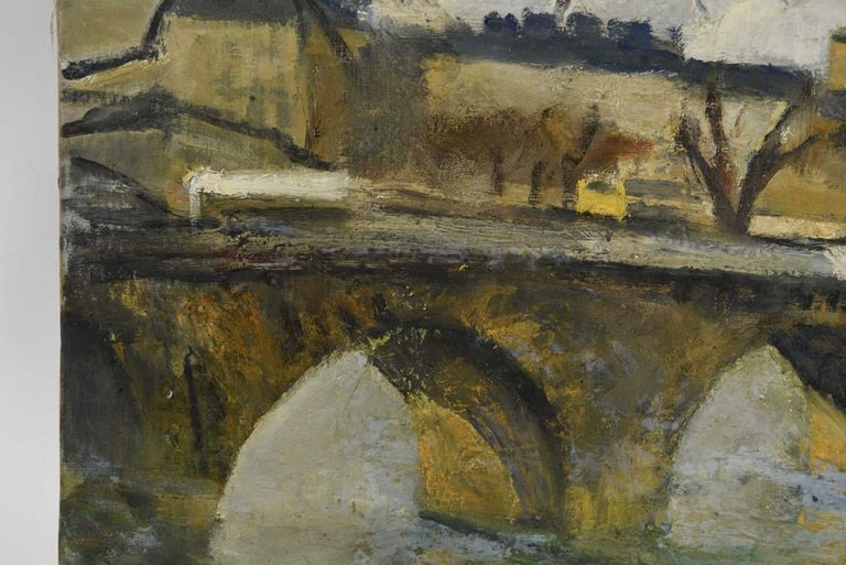 The view of this French impressionist oil-on-canvas painting is of a stone bridge arching over the Seine. Paris buildings are in the background while a leafless tree is in the foreground. The colors are predominately black, yellow and grey. The