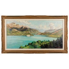 French Impressionist Painting of Lac Anncey by Georges Lachaux