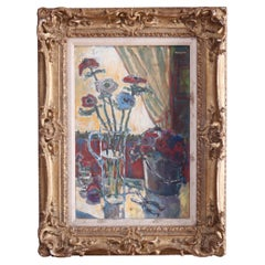 French Impressionistic Oil on Board Painting Floral Still Life by Masson, 20th C