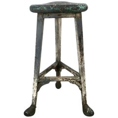 French Industrial Artist Stool, circa 1900s, Amazing Patina, Metal Hoofed Feet