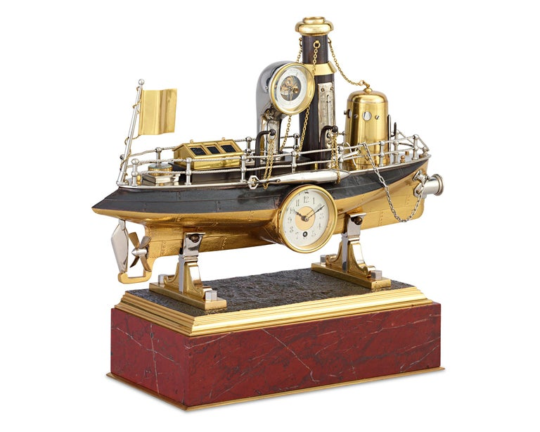 Taking the form of a battleship, this French automaton clock is a spellbinding example of the complex artistry of industrial timepieces. This genre of clockmaking rose in popularity during the Industrial Revolution, and such clocks were sought after