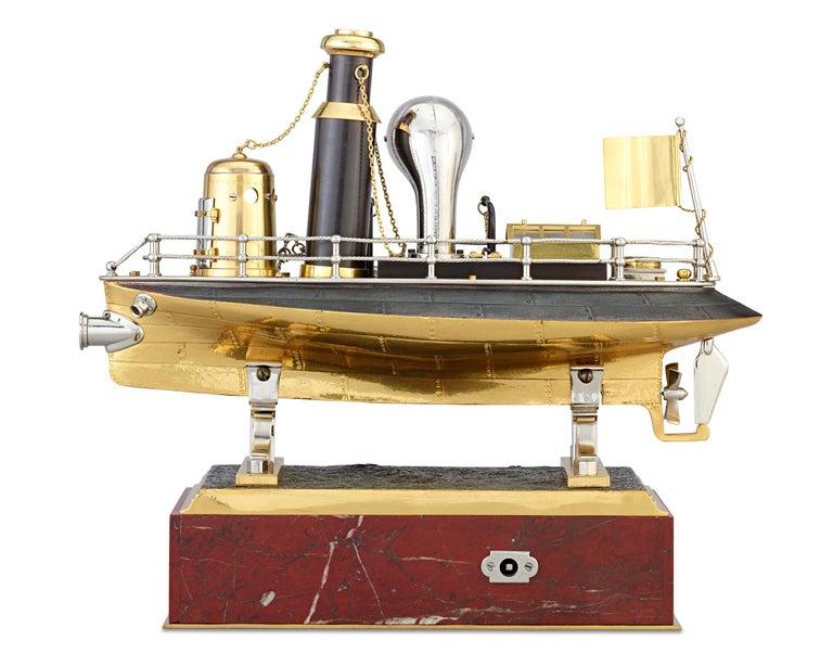 Gilt French Industrial Battleship Clock For Sale