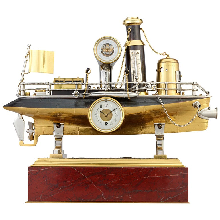 French Industrial Battleship Clock For Sale
