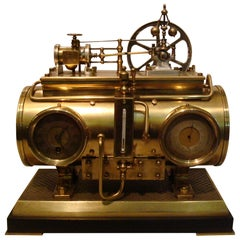 French Industrial Brass Clock, Barometer Station Animated Steam Boiler