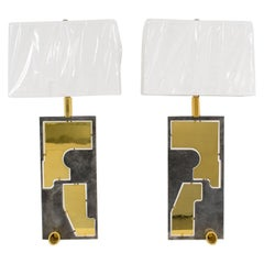 French Industrial Brutalist Brass and Steel Table Lamp, a Pair