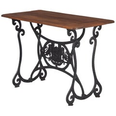 French Industrial Console Table with Iron Base and Oak Top, Early 1900s