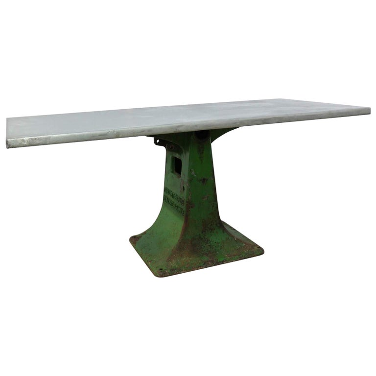 French Industrial Dining Table Zinc Top One of a Kind Vintage Kitchen Worktable For Sale