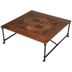 French Industrial Inspired Coffee Table, Parquet Center Lion Paw Feet Any Size