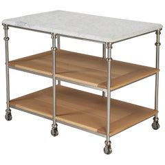 French Industrial Inspired Kitchen Island Stainless Steel Silver Plated Fittings