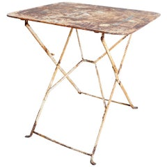 French Industrial Iron Folding Bistro Garden Table