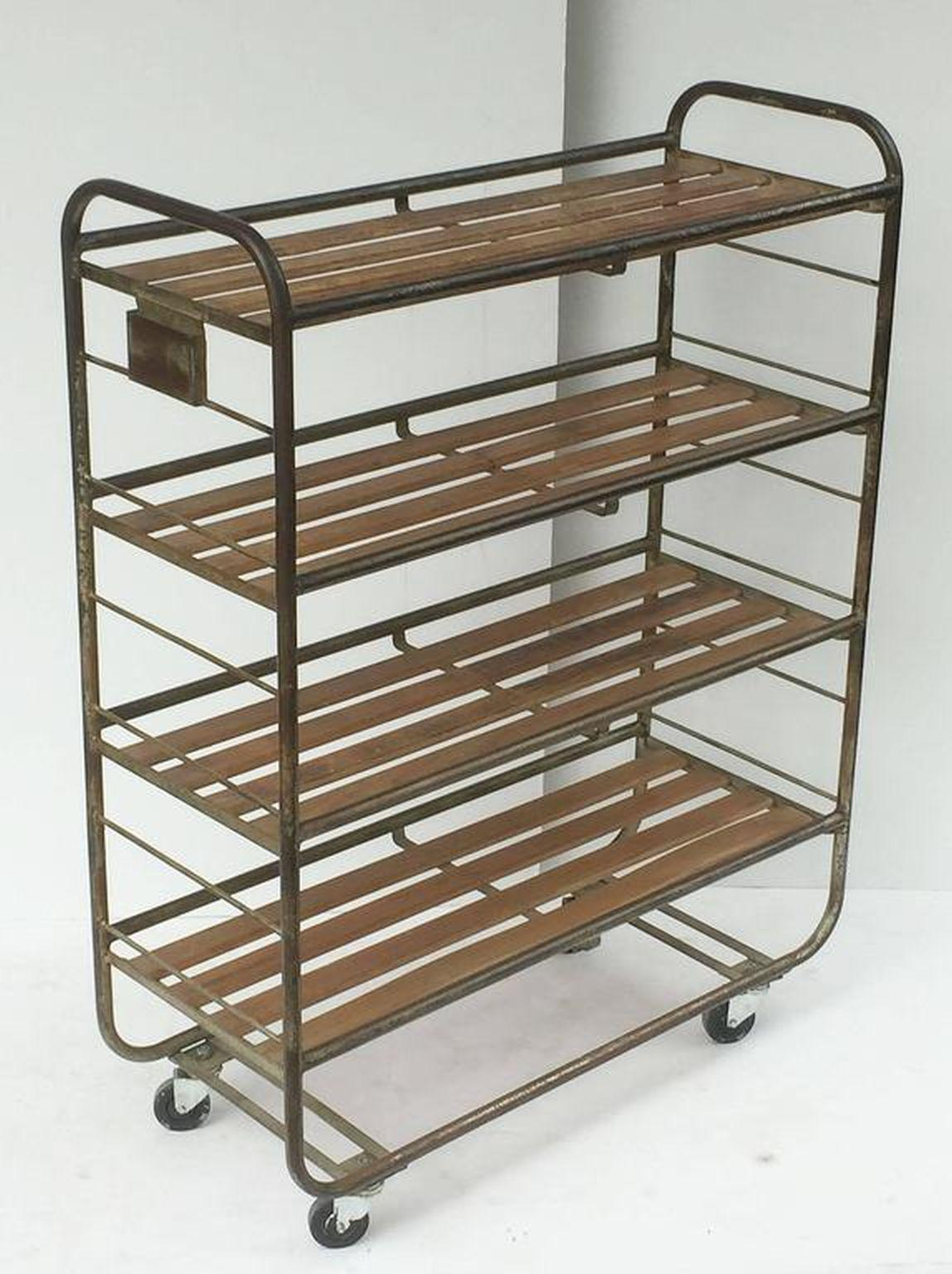 French Industrial Rolling Rack Of Steel And Wood