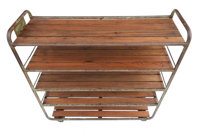 Vintage French Wheeled Trolley Mobile Shelved Shelving Push Cart Display Storage Industrial More Available circa 1970/'s  English Shop
